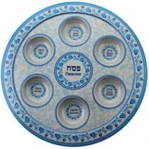 Passover Melamine Seder Plate Turquoise & Blue Ornaments - Home of Judaica