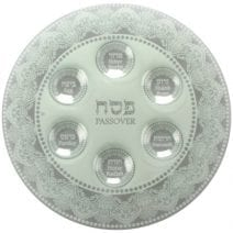 Passover Seder Plate White and Silver