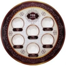 Disposable Seder Plate Bright & Burgundy Colors