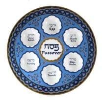Melamine Seder Plate Blue Ornaments Hebrew English Text