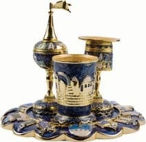 Jeweled Jerusalem Havdalah Set in Blue