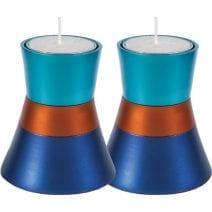 Turquoise, Orange and Blue Yair Emanuel Tea Light Candle Holder