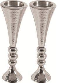 Yair Emanuel Shabbat Candlestick Set Hammer Pattern Silver Orbs