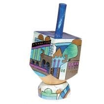 Yair Emanuel Sevivon Wooden Dreidel with Stand - Jerusalem in Blue , Hanukkah Gift