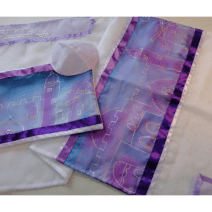 Women's Tallit Set with Jerusalem Sunset Hand painted