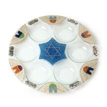 Lily Art Hand Painted Seder Plate with Jerusalem Theme