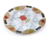 Lily Art Hand Painted Seder Plate with Tulips In Orange and Gold