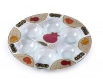 Lily Art Hand Painted Seder Plate with Pomenegrades In Orange and Gold