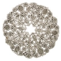 Aluminum Trivet Silver Oriental Flower