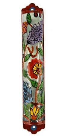 Jewish Yair Emanuel Hand Painted Colorful Glass Mezuzah Laser Cut Flowers