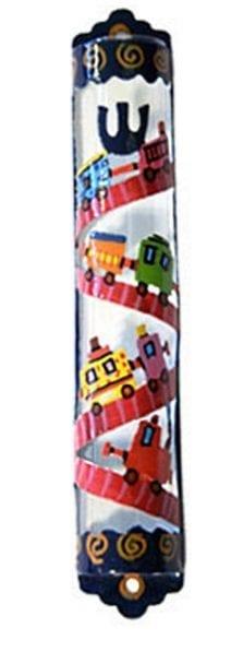 Jewish Yair Emanuel Hand Painted Colorful Glass Mezuzah Laser Cut Trains