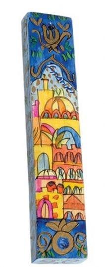 Wooden Mezuzah Jerusalem Panorama Blue Sky