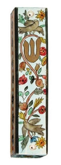 Wooden Mezuzah Doves and Pomegranates