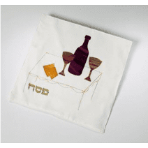 Matzah Cover Hand Painted Silk Applique Matzah and Wine by Galilee Silk