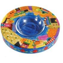 Yair Emanuel Wooden Honey Dish Plate Jerusalem