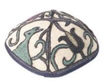 Yair Emanuel Hand Embroidered Kippah Oriental Blue