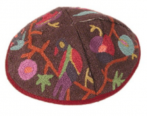 Hand Embroidered Kippah Oriental Multicolor