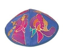 Yair Emanuel Silk Painted Kippah Biblical Figures