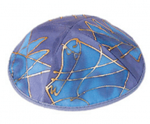 Silk Painted Kippah The Twelve Tribes Blue