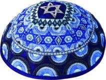 Blue  Kippah Embroidered  with Stars of David and Rainbows