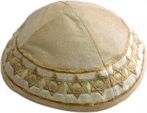 Beige Kippah Embroidered Gold Stars of David