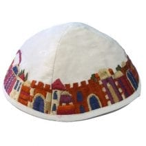 White Kippah Embroidered with Jerusalem in Colors