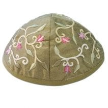 Green  Kippah Embroidered with Flowers
