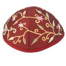 Yair Emanuel Maroon Kippah Embroidered with flowers