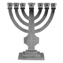 7 Branch Temple MENORAH Silver Color with Jerusalem Cross