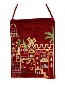 Maroon Jerusalem Passport Bag By Yair Emanuel