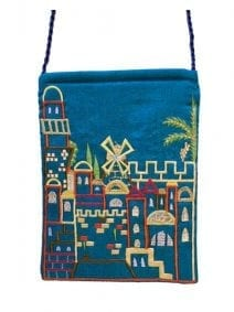 Turquoise Jerusalem Passport Bag By Yair Emanuel
