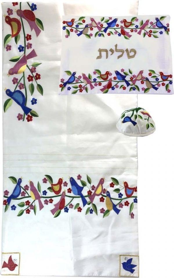 Embroidered Birds & Flowers Tallit Set in White Bat Mitzvah Gift
