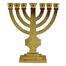 7 Branch Temple MENORAH Gold Color with Jerusalem Cross