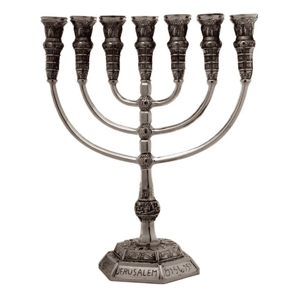 7-Branch-Menorah-Temple-Replica-85-Pewter-Jerusalem-Israel-Gift-162721610602