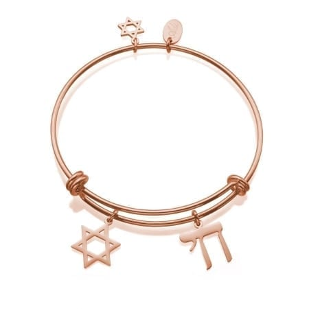 CO88 Stainless Steel Bracelet Star of David and Chai Red Gold