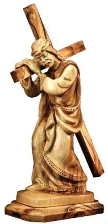 Hand Carved Bethlehem Olive Wood Jesus Christ carrying his Cross 2nd Station