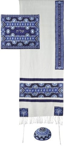 Yair Emanuel Tallit Set Blue Star of David & Rainbows Full Embroidery