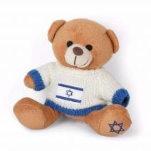 Teddy Bear With Israel Flag with White Sweater