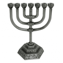 Menorah Roofs of the Holy City in Pewter