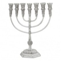 Seven Branch Menorah with Knesset Design - Electroformed Silver