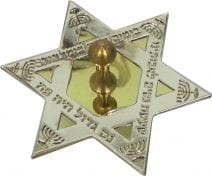 Dreidel Start of David in Silver and Gold Plated Hanukkah Blessings