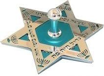 Dreidel Start of David in Silver and Turquoise Hanukkah Blessings Hanukkah Gift