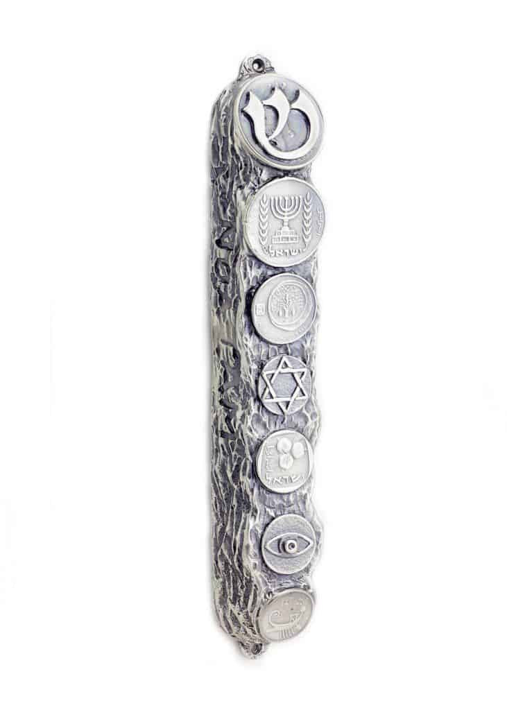 Noa Tam Mezuzah Case Coins Protection Symbols In Silver Judaica